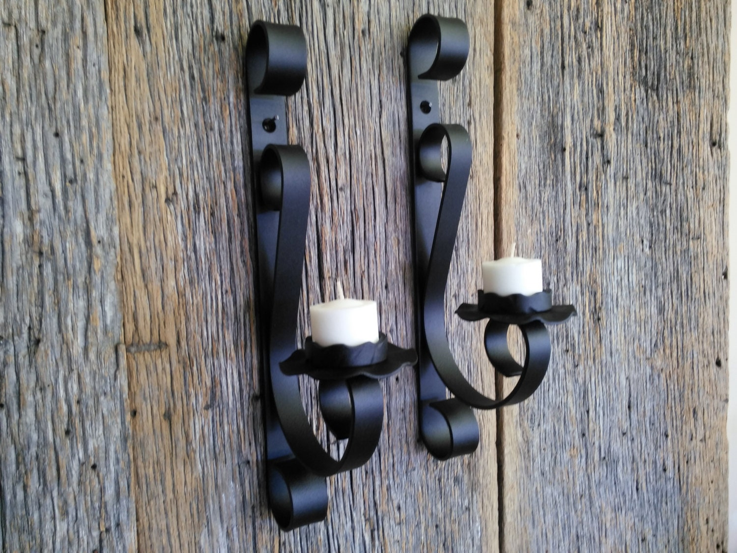 Rustic Iron Wall Sconces : Candle wall sconce rustic wrought iron metal by metalkraftdecor