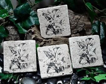 Calla Lily Natural Travertine Coasters - Set of 4