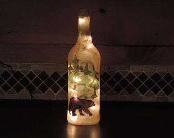 Black Bear and pine trees wine bottle light rustic camp decor