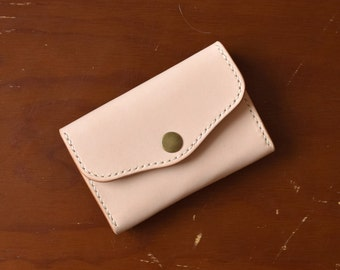 Natural Leather Card Case / Coin Pouch / Minimalist Wallet - Vegetable Tanned Leather / Hand stitched / Made in USA
