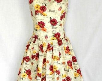 Paris stamp floral dress.