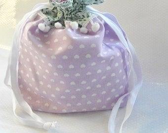 Lilac & White Upside Down Hearts Roses Drawstring Bag / Gift Bag / Roses / Pompoms / Leaves / Knitting Bag / Crochet Bag / Project Bag