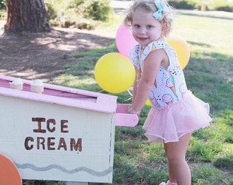 Ice Cream Birthday Outfit - Ice Cream leotard - Baby Girl Leotard - Girls Leotard - Baby Girl Birthday Outfit - Gymnastics Leotard