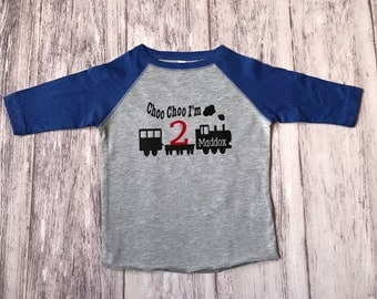 Choo Choo I'm 2 train birthday shirt, choo choo I'm 2, train t-shirt, train shirt, train birthday shirt, 2nd birthday shirt