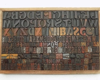 50% Discount 190 Vintage Letterpress Wood Type All Letter in Mix size & mix fonts for decoration, craft and many other use.#Te-100