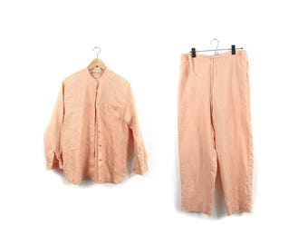 90s Pale Durazno Linen Two Piece Set /  Long Sleeve Mandarin Shirt and Loose Pant Set / Minimalist / Modern