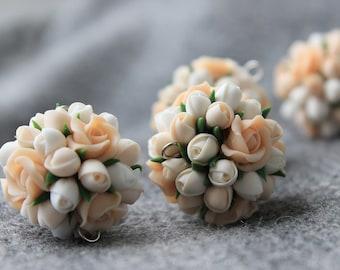 Polymer Clay Flower Beads, Polymer Clay Flower, Flower Beads, Polymer Clay Flower Jewelry, Polymer Beads, Jewelry Supplies