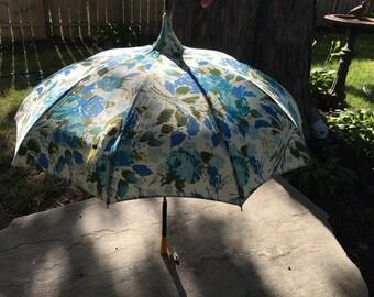Pagoda Style Blue Rose and Leaf Umbrella