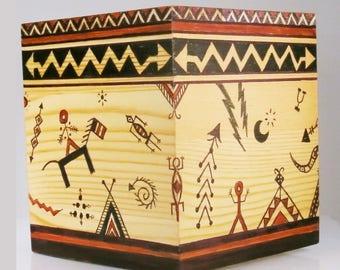 Hand-Painted Wood Kleenex Square Box - Southwest Tribal - Indian Ethnic Decor - Wood Tissue Box -   Box - Hand Painted Box