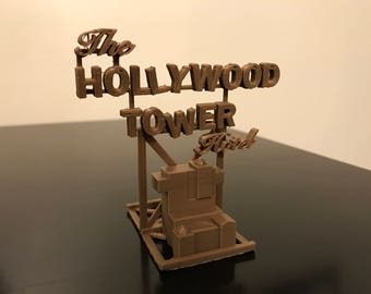 Hollywood Tower Hotel - Tower of Terror Sign and Model - 3D Printed