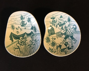 Danish Mid Century Viking Dishes Nymolle Art Faience Hoyrup Limited Edition #413a