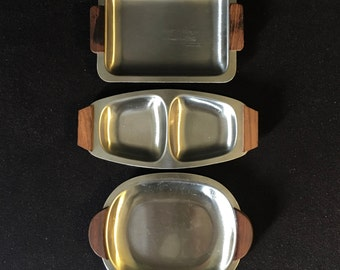 3 MCM Elpo Japan Stainless Steel and Wood Handles Serving Dishes Danish Modern