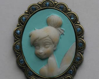 Disney Tinker Bell Cameo Pendant Necklace / Month of March Pixie Fairy