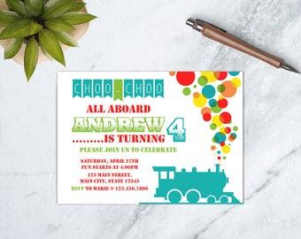 Train Birthday Invitation, Train Birthday Party, Choo Choo Party, Choo Choo Birthday Invitation, All Aboard Invitation, PRINTABLE