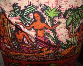 Vintage Hawaiian Tiki Polynesian Barkcloth Screen Print Wrap Skirt Rare