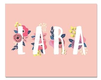 Lara Baby Name Wall Art Lara Baby Name Sign Lara Party Printable Lara Party Decorations Lara Art