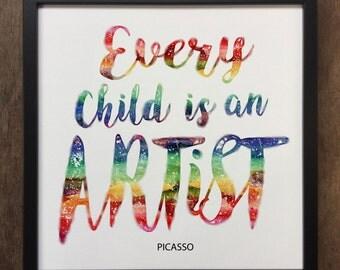 Every Child Is An Artist PICASSO print- Framed Art Print ART85