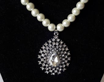 Diamond Drop and pearl beaded necklace