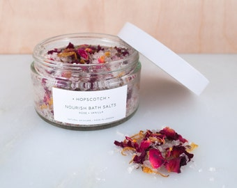 Hopscotch Nourish Bath Salts — Rose and Vanilla Bath Salts — Natural Skincare Made in the UK