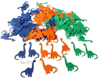 "80 Blue, Green & Orange Medium Dinosaure 1,5"" Cut outs, Die cut, Confetti, Embellishments or CHOOSE YOUR COLORS - Set of 80 pcs"