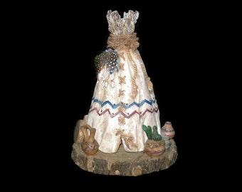 Vintage Tee Pee, Candle Holder, Vintage, Home Decor, Southwestern Decor, Table Decor, Rustic Decor, Western Decor, Vintage Candle Holder