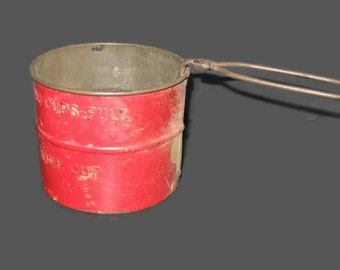 Vintage 2 Cup Sifter, Rustic Sifter, Home Decor, Vintage Collectible, Kitchen Sifter, Flour Sifter, Red Sifter, Country Decor, Farmhouse