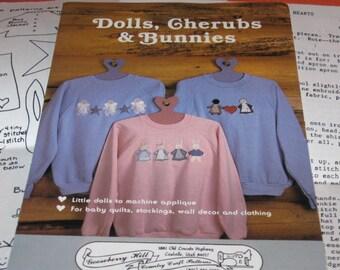 Gooseberry Hill Patterns, Dolls, Cherubs, Bunnies, Vintage Patterns, Vintage Sewing, Machine Applique, 1987 Patterns, Vintage Crafts