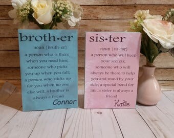 Brother definition, sister definition, brother sign, wooden sign personalized , big brother little sister, big sister little brother