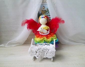Crochet angel. Angel for a little girl. The angel little boy. Guardian angel for babies. Named guardian angel for the child. Christmas angel