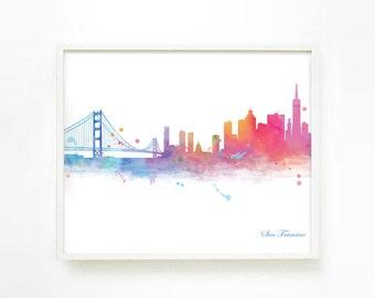 San Francisco Skyline Wall Art, San Francisco Skyline Print, City Skyline Print, Watercolor Skyline, San Francisco Art