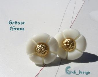 Ear plug knob white golden flower