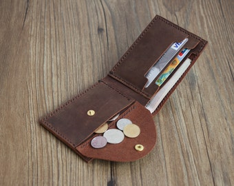 Mens Leather Wallet with Coin Pocket All In One Billfold Wallet Coin Pocket Credit Card Slots Cash Purse Groomsmen's Gift Christmas Gifts