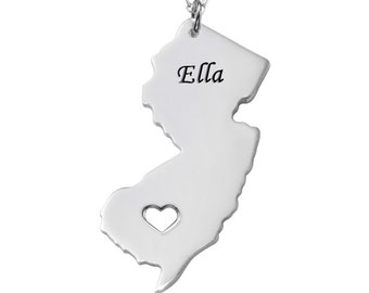 Silver New Jersey State Necklace, NJ   State Necklace,Any State Necklace, New Jersey Pendant,Any Name Engraved,Map Necklace With A Heart