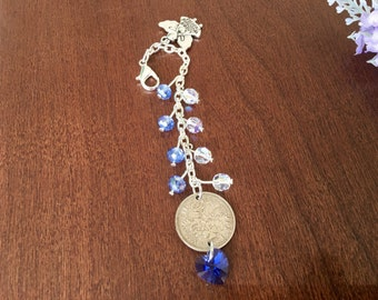 wedding bouquet charm, bridal bouquet charm, something blue bouquet charm, good luck wedding gift, lucky sixpence gift for bride, blue charm