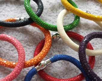 Stingray leather bracelets - magnetic clasp - select your color