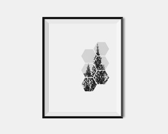 Minimalist Art, Modern Art Print, Pine Tree Print, Tree Art Print, Nature Art, Nature print, Printable Wall Art, Geometry art, Contemporary