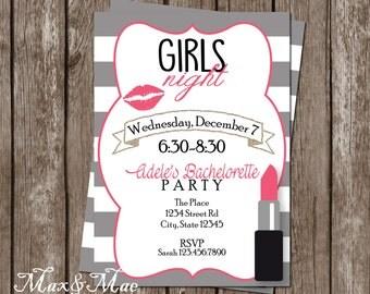 Lipstick Bachelorette Party Invitation, Bachelorette Party, Pink and Gold Bachelorette Invitation, Girls Night, Digital