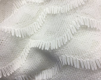 SALE! White Spandex Lace by the Yard, Fabric by the Yard, Cotton Fabric by the Yard, Cotton Yardage, Fabric Yardage