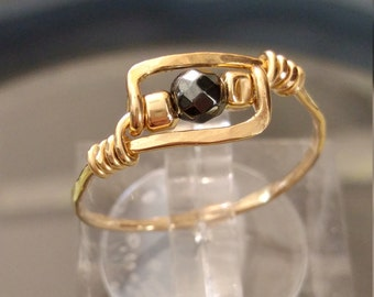 Natural Hematite Ring - Handmade Wire Wrapped Hammered Rin - 14K Goldfilled Ring - Choose US Size 4-10