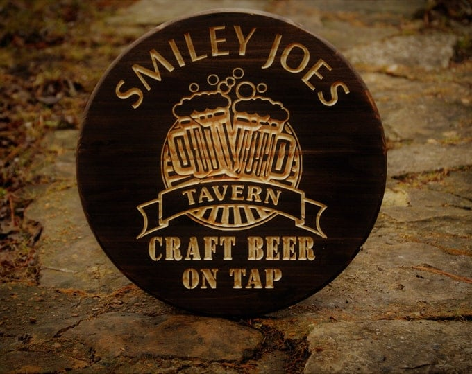 "Man Cave Sign Father Dad Gift Father Present Mancave Gift  Custom Bar Sign Personalized Bar Signs 18"" Round Bar Sign Single Sided"