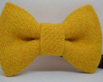 Harris Tweed Bow tie, Men's bow tie, Mustard Bow tie, handmade accessory, Men's accessory, Mustard Yellow, Gift for men