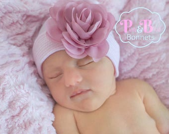 Newborn Hospital Hat Bow Baby Girl Hospital Hat Beanie with Flower Newborn baby girl hat with bow flower white newborn hat - PINK Dusty Rose