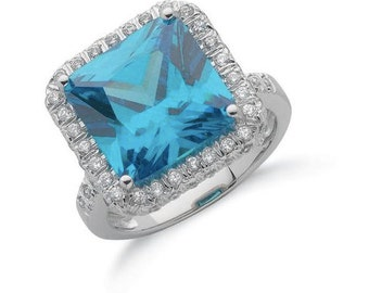 Silver Blue Colour Cz Cluster Ring