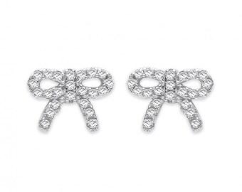 Silver Cz Bow Stud Earrings