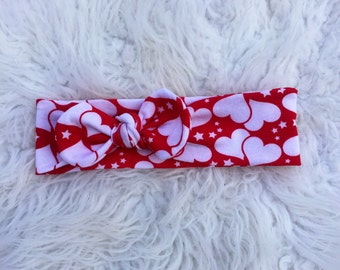 Red, white hearts, Valentine's Day Top Knot Headband. Baby top knot headband. Turban headband. Toddler turban headband. Baby tie up headband