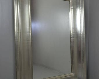 Large White Metal Overmantle Mirror