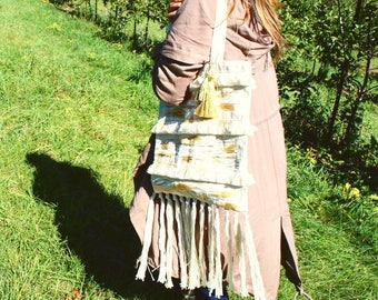 Canvas Tote Bag with Fringe Details and Metallic Brush Strokes.