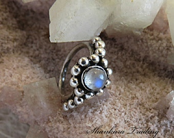 Moonstone Nose Ring, Sterling Silver Nose Ring, Ethnic Nose Ring, Tribal Helix Ring, Silver Tragus Ring, Body Jewellery, Indian Nose Ring