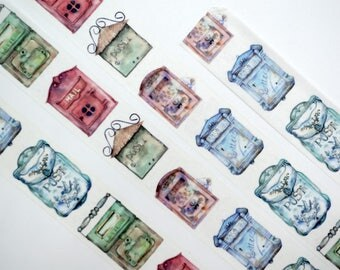 Retro mailbox Washi Tape/Deco Masking Tape/Planner Sticker/ Scrapbook Tape/ Deco tape  TZ1854