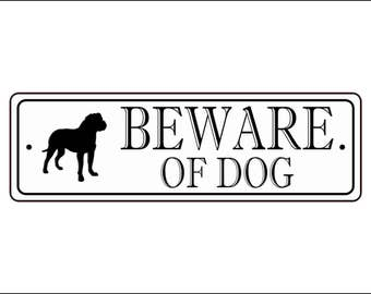 "Beware Of Dog Sign - 2.5"" x 8"", Pit Bull silhouette,  - FREE SHIPPING"